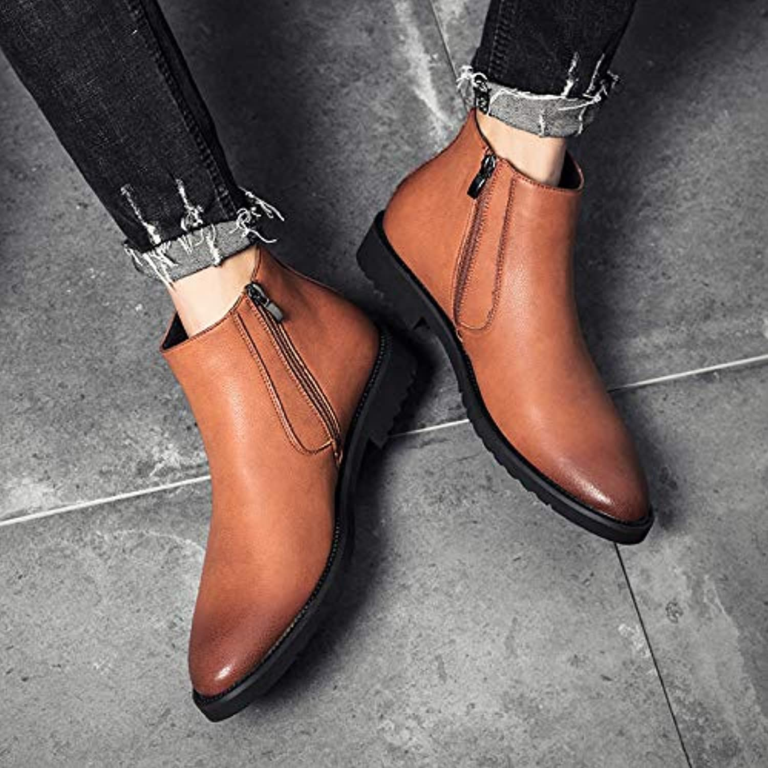 LOVDRAM Boots Men's Martin Boots Men'S Winter Cotton To Help Pu Inside The High shoes To Help The Tip Chelsea Boots Short Boots