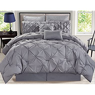 8 Piece Rochelle Pinched Pleat Gray Comforter Set Queen