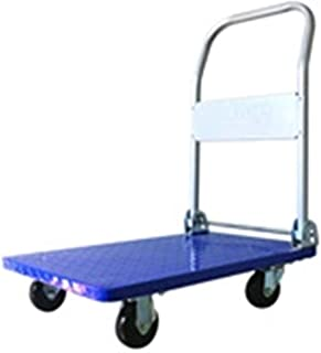 JXSHQS Hand Cart Trolley Home Folding Portable Silent Trolley Car Shopping Cart Luggage Cart Trailer Thick Steel Plate Can Bear 150kg Trolley (Color : Blue)