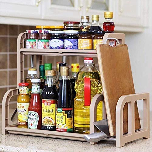 Cocina for guardar objetos, especias Rack de 2 capas de stand-up estante de especia Organizador, Tanque de cocina encimera de baño tanque de almacenaje Organizador soporte for Spice Jar, lata, botella