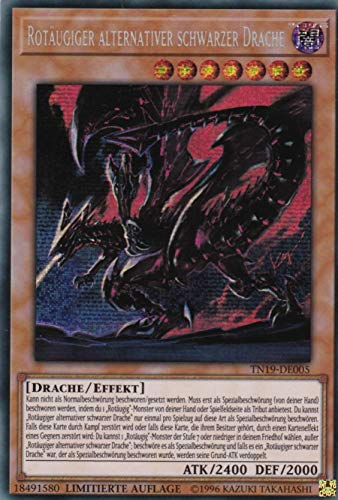 TN19-DE005 - Rotäugiger alternativer schwarzer Drache - Prismatic Secret Rare - Yu-Gi-Oh - Deutsch - 1. Auflage im Set mit Ultra Pro Toploader und Ultra Pro Schutzhülle (Klarsicht)
