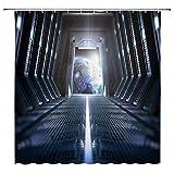 AdaCrazy Raum Duschvorhang Planet Raumschiff Moderne Technologie Mond Einfache Blaue weiße Badezimmer Gardinen Dekor Polyester Stoff Schnelltrocknende 72x72 Zoll enthalten Haken