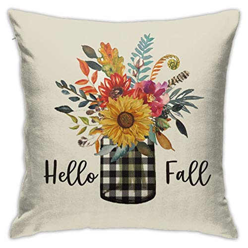 niBBuns Pillow Case,Hello Fall Buffalo Check Plaid Vase Sunflower,Square Decorative Throw Pillow Case Cushion Cover 18 x 18 inch