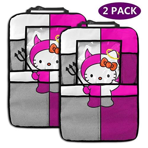 TBLHM Hello Kitty Angel and Devil Lot de 2 Sacs de Rangement pour siège arrière de Voiture avec Support pour Tablette