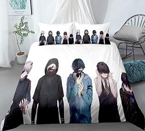 Amanigo 3D Tokyo Ghoul: Conjuntos de Ropa de Cama de Kaneki Ken para los fanáticos de Otaku y Anime 100% Suaves y cómodos (Size : EU-single140×200cm)