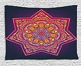 ABAKUHAUS Hoja Tapiz de Pared, Mandala Geométrica Tibetano, para el Dormitorio Apto Lavadora y...