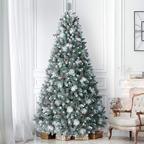 9ft Pre-Lit Pine Christmas Tree, ANOTHERME 800 Warm Lights UL Certified, Pine Cones &Berries Hinged Artificial Trees Flocked Holiday Decor - Blue/Green