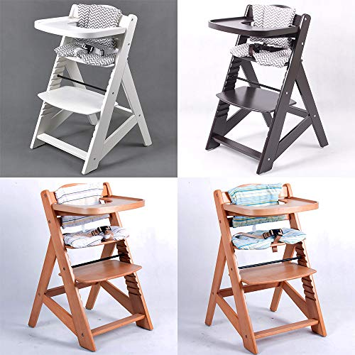 TIGGO Hochstuhl Treppenhochstuhl Babyhochstuhl Kinderhochstuhl Kindertreppenhochstuhl Babystuhl (weiss-Kissen grau) 6551-W