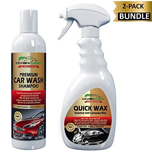 KevianClean Car Wash Shampoo & Quick Wax Detail Spray (2-Pack Bundle Kit) - Best Car Care Set for the Ultimate Exterior Automotive Wash and Wax