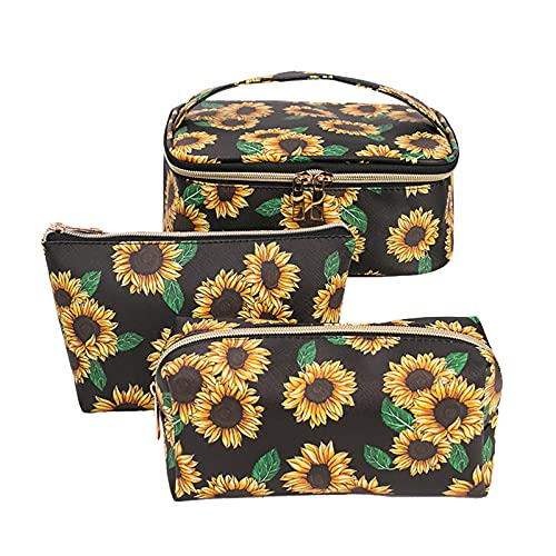 Sunflower Printing Classic Large Capacity Multipurpose Travel Makeup Package for Purse with Gold Zipper Cute Toiletry Bags for Women (B, 3Pcs)