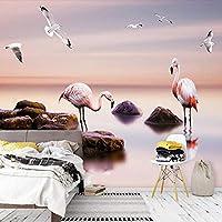 カスタム3D壁画壁紙モダンシーピンクバードフレスコ画リビングルームテレビソファベッドルームロマンチックな家の装飾-200x140cm