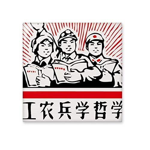 DIYthinker werknemer boer soldaat rood China glanzende keramische tegel badkamer keuken muur steen decoratie ambachtelijke gift Medium