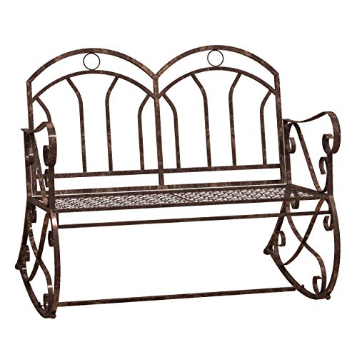 Outsunny 2 Seater Metal Garden Park Bench Outdoor Rocking Chair Swing Bench Loving Seat Bronze