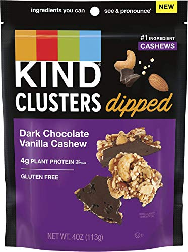 KIND Snack Clusters Dipped, Dark Chocolate Vanilla Cashew, Gluten Free, 4g Protein, 4 Ounce , 8Count