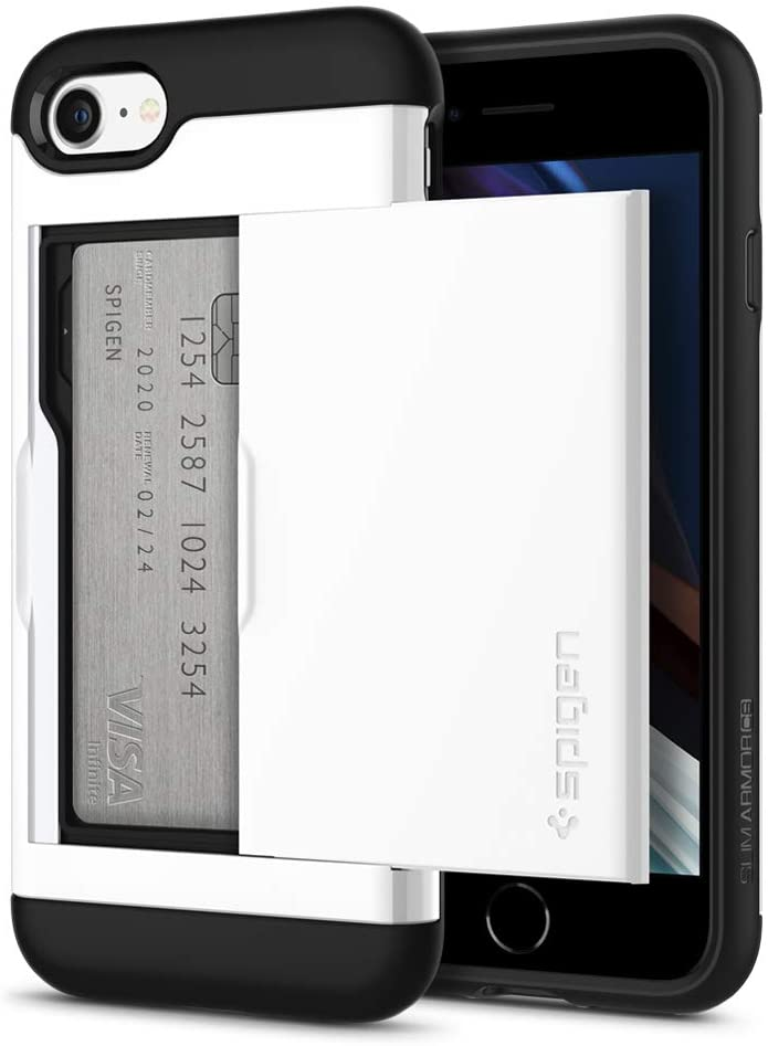 Spigen Slim Armor CS Designed for iPhone SE 2020 Case/Designed for iPhone 8 Case (2017) / Designed for iPhone 7 Case (2016) - Jet White