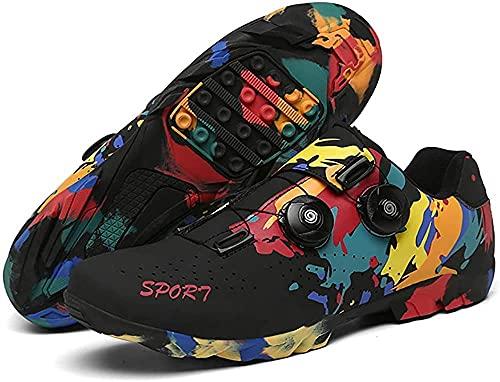 KUXUAN Zapatillas de Ciclismo,Zapatos de Bicicleta Sin Bloqueo,Zapatos de Spinning de Suela Dura, Unisexo,Black-39 EU