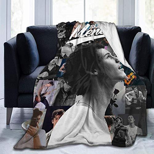 Manta ultra suave con estampado de micro forro polar S-h-a-w-n y M-e-n-d-e-s para adultos y niños, felpa ligera y cálida para cama, sofá, sala de estar, dormitorio, silla, sofá cama de 127 x 101 cm
