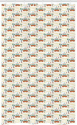 ABAKUHAUS happy Camper Douchegordijn, Hippie Van op Weg, voor Douchecabine Stoffen Badkamer Decoratie Set met Ophangringen, 120 x 180 cm, Orange Room en Groen