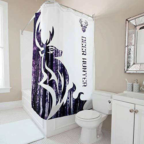 O3XEQ-8 Hirschjäger - Cortina de ducha con bonito estampado, resistente a la corrosión, juego de cortinas para bañeras, decorativas, color blanco, 150 x 180 cm