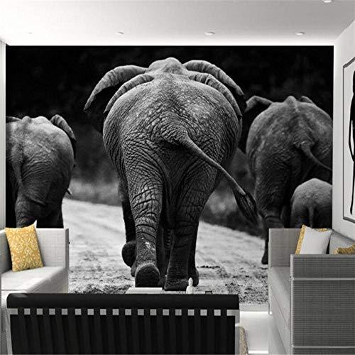 Bdhnmx fotobehang 3D HD olifant zwart wit rug foto woonkamer slaapkamer decoratief schilderij vliesbehang print muurschilderij 3D 400 cm.