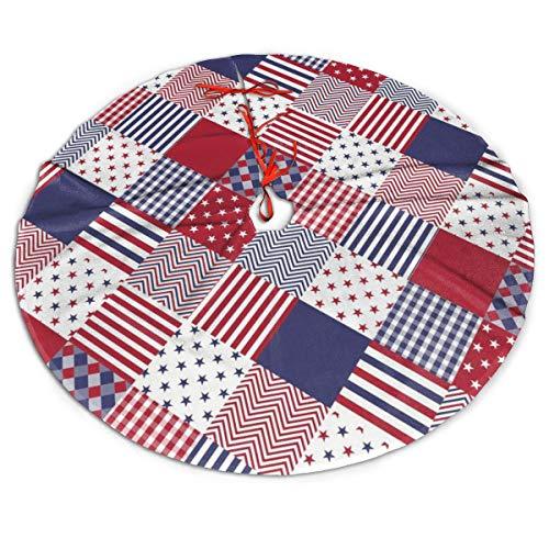 FENTINAYA 48 in Christmas Tree Skirt - Christmas Tree Base Cover For Xmas Decor, Usa Americana Diagonal Red White Blue Quilt