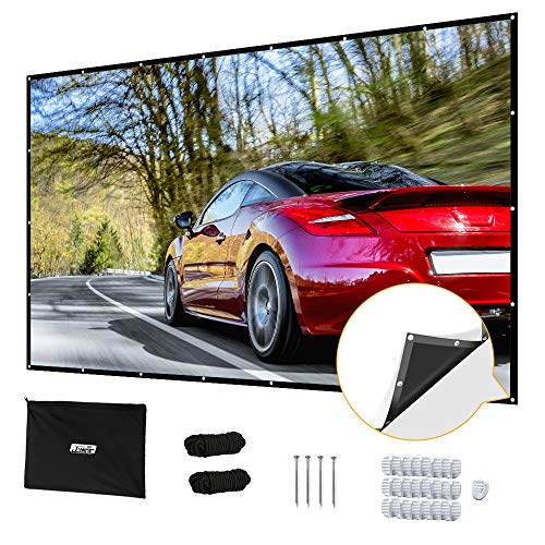 Projector Screen 120 inch, Upgraded 120'' 4K 16:9 HD Portable Projector Screen, Premium Indoor Outdoor Movie Screen Anti-Crease Projection Screen for Home Theater Backyard Movie Office Presentation.