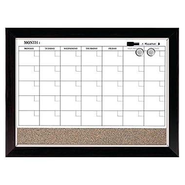 Quartet Dry Erase Calendar Board, Planner, Magnetic, Combo White Board & Cork Board, 17  x 23 , Wood Finish Frame (22476)