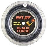 Pro's Pro Black Force Corda per Racchetta da Tennis - 200m Bobina - 1.24mm - Nero