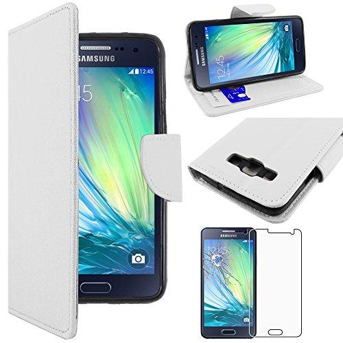 ebestStar - kompatibel mit Samsung Galaxy A3 Hülle SM-A300F (2015) Wallet Case Handyhülle[PU Leder], Kartenfächern, Standfunktion, Weiss +Panzerglas Schutzfolie [Phone:130.1x65.5x6.9mm 4.5