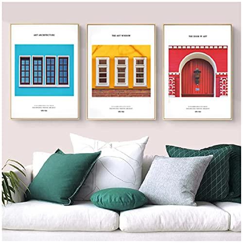 Uppdatera färgglada hus affischer och tryck Wall Art Canvas målning bilder för vardagsrum heminredning-20X30 tum X3Pcs ingen ram