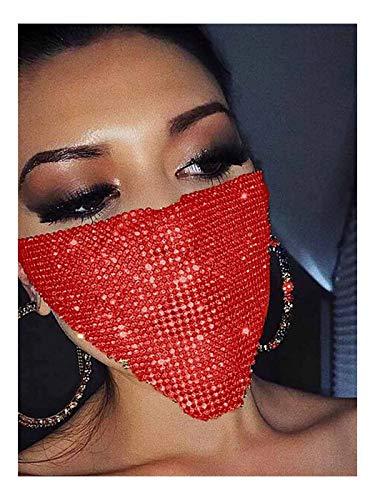 Yokawe Sparkly Rhinestone Mask Chain Red Crystal Masquerade Masks Ball Party Nightclub Necklace Venetian Mardi Gras Jewelry for Women and Girls