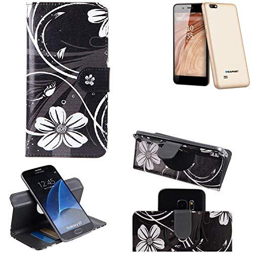 K-S-Trade® Schutzhülle Für Blaupunkt SL 04 Hülle 360° Wallet Case Schutz Hülle ''Flowers'' Smartphone Flip Cover Flipstyle Tasche Handyhülle Schwarz-weiß 1x