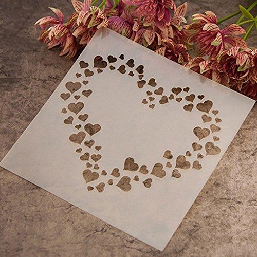 Gemini_mall® Mode-Malvorlage/Schablone, zum Skizzieren, für Alben, Kuchen, Kaffee, DIY, Kunst Love Hearts