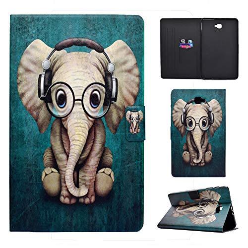 Succtop Cover Samsung Tab A6 Custodia di Pelle PU Flip Portafoglio Stand Custodia di Tablet con Funzione Sleep/Wake Auto per Samsung Galaxy Tab A 2016 10.1 Pollici SM-T580/SM-T585 Elefante Musical