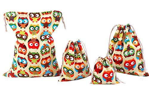 abaría - 4 Unidades Bolsa de algodón Grande - Bolsa Inserto Organizador para Ropa Juguete pañales - Bolsos Inserto bebé - Grande 33 x 41 cm, Mediano 25x 30 cm, pequeña 19 x 23 cm, Mini 14 X 16 cm