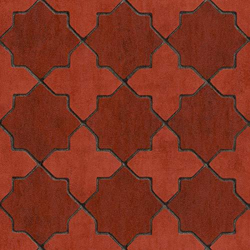 Vliesbehang Tegeltjes behang Tegel behang Grijs Rood Zwart/Antraciet 374211 37421-1 A.S. Création New Walls | Grijs/Rood/Zwart/Antraciet | Rol (10,05 x 0,53 m) = 5,33 m²