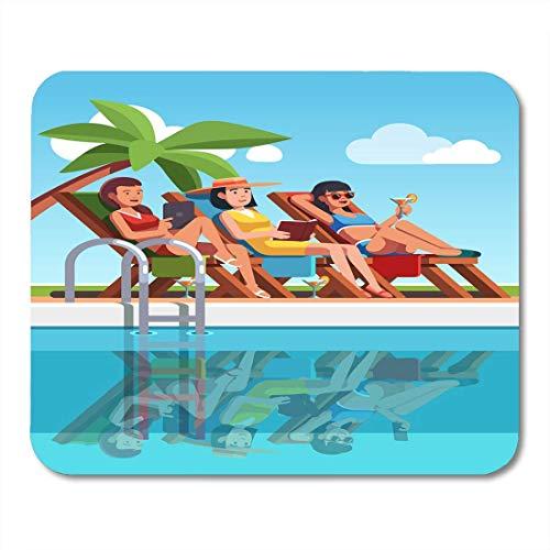 Muis Pads Drie Vrouw in Badpakken Liggen op Ligstoelen In de buurt van Zwembad Mooie Meisjes Tanning aan het zwembad Onder Muis Pad