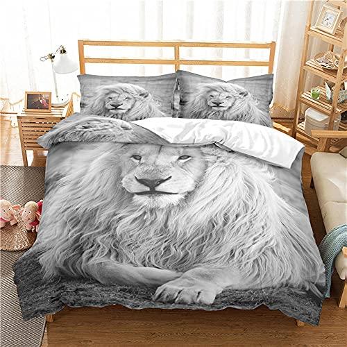 LucaSng Blanco Funda Nordica 3D Impresión Ropa De Cama De - King Single 150x220 CM - Moda Animal león - Funda de Edredón 3 Ropa de Cama Suave Familia Niño Niña Moderno Estilo Colcha Cama