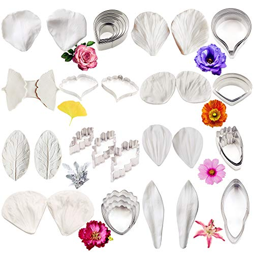 16-teiliges Ausstechformen-Set für Blütenpaste, Fondant, Edelstahl, Ausstechformen-Set für Zuckerguss, Blumen, Silikonform für Hochzeit, Geburtstag, Kuchendekoration