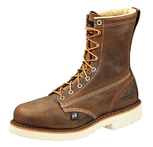 "Thorogood 804-4379 Men's American Heritage 8"" Round Toe, MAXWear 90 Safety Toe Boot, Trail Crazyhorse - 10.5 D(M) US"