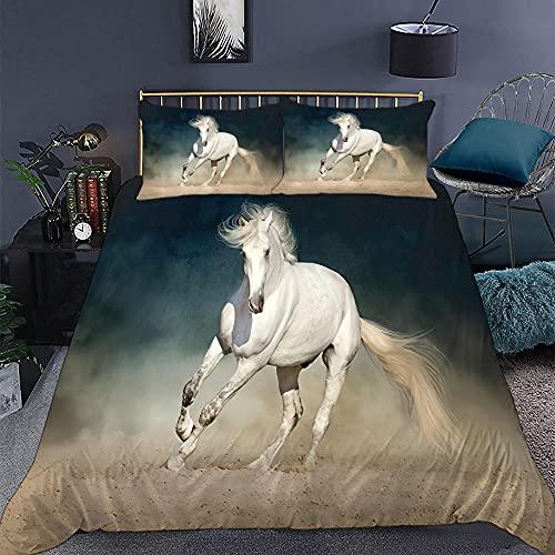 KIrSv Jun Horse Funda de Almohada con diseño de impresión en 3D, la Ropa de Cama de Animales Favorita para niños y niñas, Adecuada para una Cama Doble tamaño King-9_172 * 218cm (3 Piezas)