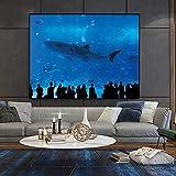 Parque Acuario y Tiburón Humano _ Kit de Pintura por Números _ _ Pintura al óleo Kit con Pinceles y Pinturas, _ para decoración del hogar _ Sin marco
