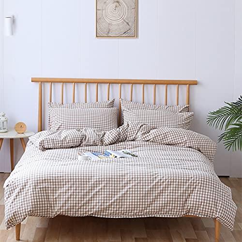 KFGF Juego de ropa de cama de algodón lavado de puro algodón suave agradable al tacto, traje individual y doble, color beige, rejilla pequeña de 1,2 m, estilo sábana bajera