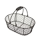 """Measures is 11""""L X 7-1/4""""W X 3-1/2""""H (not include handle). Made of wire handicraft and rustic primitive style design Decorative accent with artificial rusty coated and texture for any room Can be used as household, living room, kitchen, egg basket, f..."""
