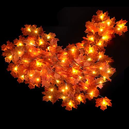 Guirnalda de luces LED de hoja de arce, PChero 3 unidades por 3 m/20 ledes, funciona con pilas, guirnalda de hojas con luces para decoración del hogar, sala de estar, árbol