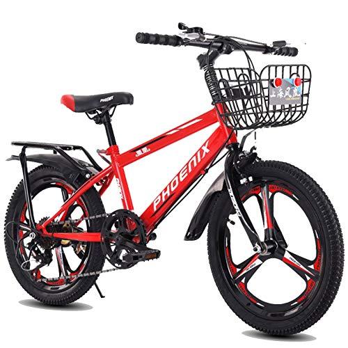 Axdwfd Infantiles Bicicletas Bicicleta de montaña de 18 o 20 Pulgadas, Engranajes de 7 velocidades, suspensión de Horquilla, Bicicleta para niños para niños y niñas, Rojo, Azul, Blanco