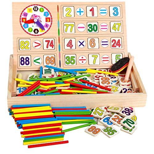 Iwinna Baby Toy Wooden Blocks Educational Toys Mathematical Intelligence Stick Building Blocks Wooden Number Cards and Counting Rods with Box