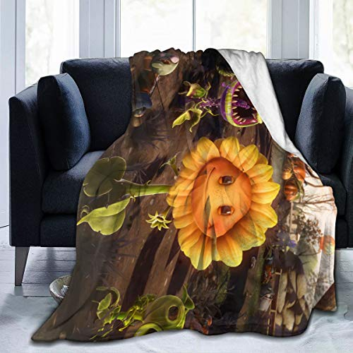 Guo Jiajun Plants Vs. Zombies Ultra-Soft Micro Fleece Blanket Anti-Pilling Flannel Sleep Comfort Super Soft Sofa Blanket Print (5040)(6050)(8060) Black 60'x50'