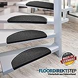 Floordirekt 15 x Teppich Stufenmatten Treppenstufen   100% Sisal   wohnlichen Farben   rutschsicher für Mensch und Tier (Maße ca. 64 x 23,5 cm) (Schwarz) - 2