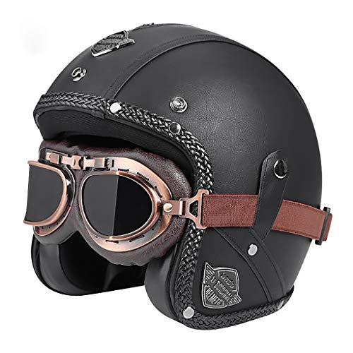 GAOZH Retro Cascos Abiertos,Clásico PU Cuero Open Face Helmet,Vintage Cascos de Moto Jet,con Visera UV Gafas,ECE Homologado,para Hombres Mujeres Harley Motocicleta Scooter Motoneta Ciclomotor